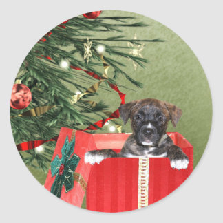 Puppy Christmas Round Stickers
