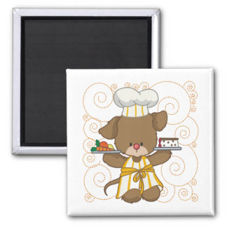 Puppy Cook 2 Inch Square Magnet