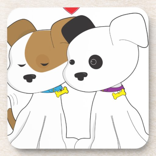 Puppy Couple Drink Coaster