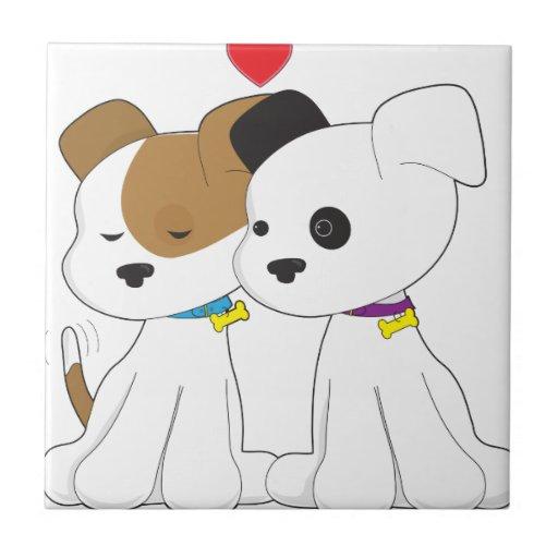 Puppy Couple Small Square Tile