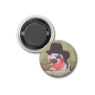 Puppy Cowboy Baby Piglet Farm Animals Babies 1 Inch Round Magnet
