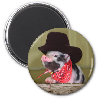 Puppy Cowboy Baby Piglet Farm Animals Babies 2 Inch Round Magnet