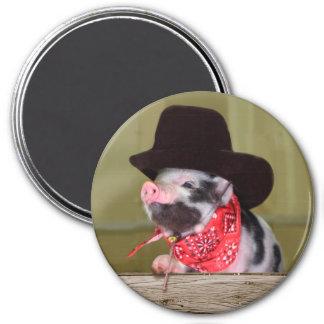 Puppy Cowboy Baby Piglet Farm Animals Babies 3 Inch Round Magnet