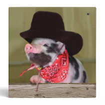 Puppy Cowboy Baby Piglet Farm Animals Babies 3 Ring Binder