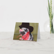 Puppy Cowboy Baby Piglet Farm Animals Babies Card