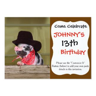 Puppy Cowboy Baby Piglet Farm Animals Babies Card