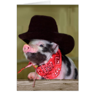 Puppy Cowboy Baby Piglet Farm Animals Babies Greeting Card