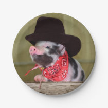 Puppy Cowboy Baby Piglet Farm Animals Babies Paper Plate