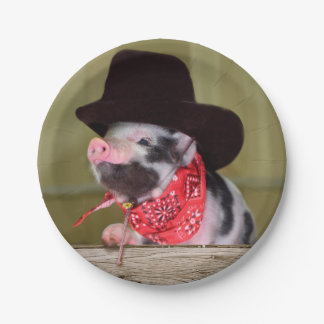 Puppy Cowboy Baby Piglet Farm Animals Babies 7 Inch Paper Plate