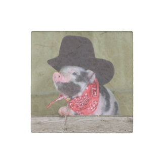 Puppy Cowboy Baby Piglet Farm Animals Babies Stone Magnet