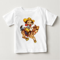 Puppy Cowboy on His Horse Baby T-Shirt