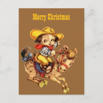 Puppy Cowboy on His Horse Merry Christmas Holiday Postcard