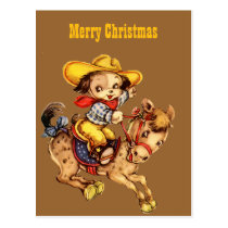 Puppy Cowboy on His Horse Merry Christmas Postcard