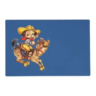 Puppy Cowboy on His Horse Laminated Placemat