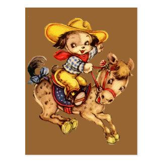 Puppy Cowboy on His Horse Postcard
