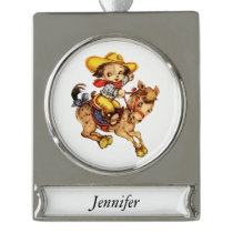 Puppy Cowboy on His Horse Silver Plated Banner Ornament