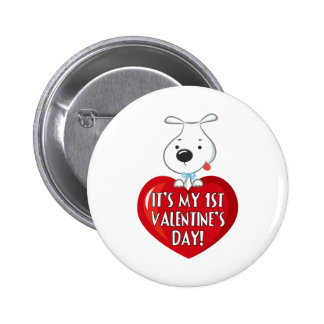 Puppy Dog 1st Valentines Day Button
