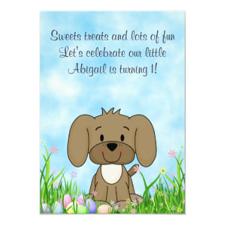 Puppy Dog and Easter Eggs 1st Birthday Invitation