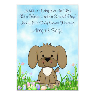 Puppy Dog and Easter Eggs Baby Shower Invitation