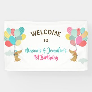 Puppy Dog birthday banner Pawty Cute Balloons Twin