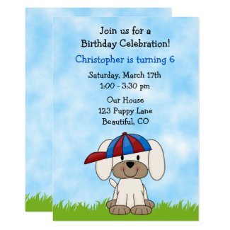 Puppy Dog Birthday Invitation for Boys