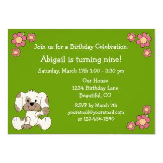 Puppy Dog Birthday Invitation for Girls