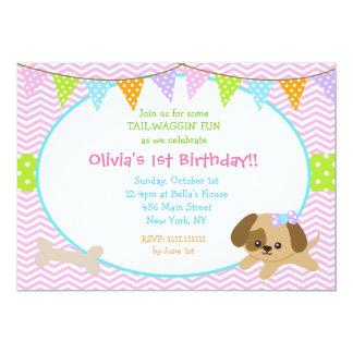 Puppy Dog Birthday Invitations for Girl