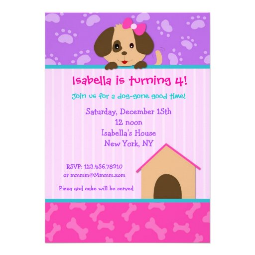 Personalized Dog Birthday Party Invitations CustomInvitationsUcom - Dog party invitations template