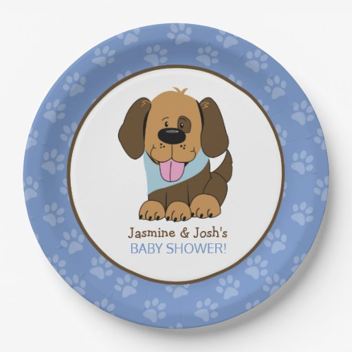 Puppy Dog Boy Baby Shower Paper Plates
