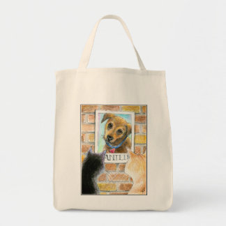 "Puppy dog, cats, ""Wanted"" poster tote"