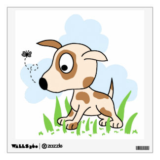 Puppy Dog Chasing a Fly Wall Sticker