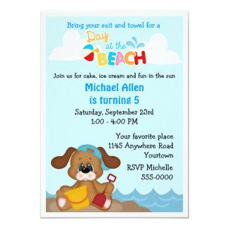 Puppy Dog Child's Beach Birthday Invite