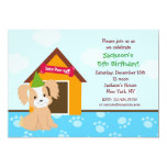"Puppy Dog Custom Birthda Party Invitations 5"" X 7"" Invitation Card"