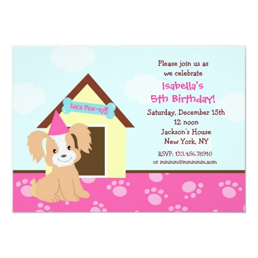 "Puppy Dog Custom Birthda Party Invitations girls 5"" X 7"" Invitation Card"