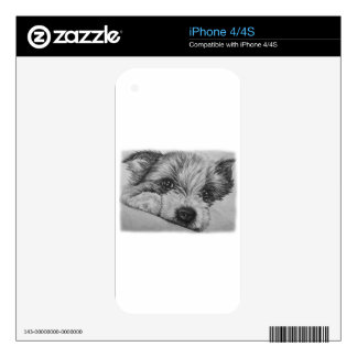 Puppy Dog Drawing of Cute Animal Art iPhone 4 Skins