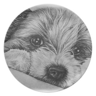 Puppy Dog Drawing of Cute Animal Art Plate