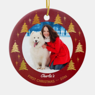 Dogs First Christmas Ornament.Puppy Dog First Christmas Custom Pet Photo Red Ceramic Ornament