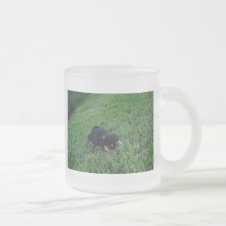 Puppy Dog Frosted Glass Coffee Mug
