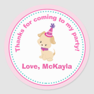 Puppy Dog Girl Birthday Party Favor Tag Sticker