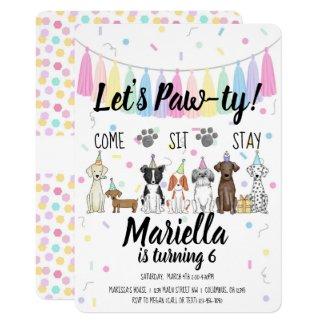 Puppy Dog Girl Birthday Pawty Invitation
