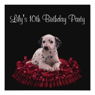 Puppy Dog Girls 10th Birthday Party 5.25x5.25 Square Paper Invitation Card