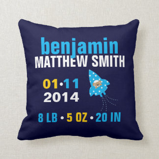 Puppy Dog in a Rocket Ship Baby Birth Announcement Pillows