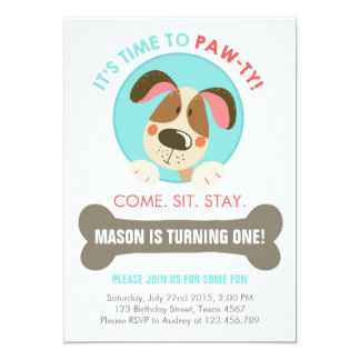 Puppy dog invitation blue red chevron