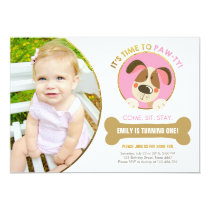 Puppy dog invitation pink and Gold Paw-ty