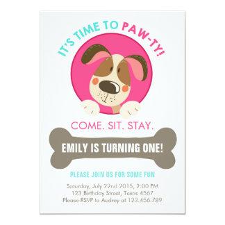 Puppy dog invitation pink turquoise chevron