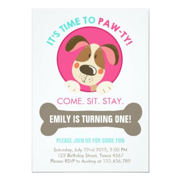 Anietillustration Puppy dog invitation pink turquoise chevron