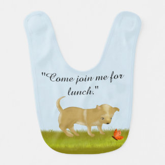 Puppy Dog Invites a Butterfly to Lunch Baby Bib