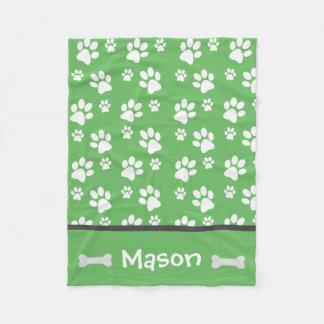 Puppy Dog Paw Print Blanket Add Doggie Name Fleece Blanket