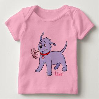 Puppy Dog Pink Flower -  Baby Longsleeve T-shirt