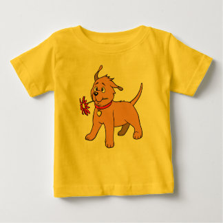 Puppy Dog  Red Flower - Soft Yellow Baby T-shirt
